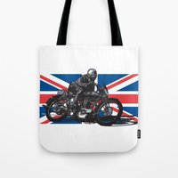 cafe racer Tote Bags featuring Norton TT Racer by Ernie Young