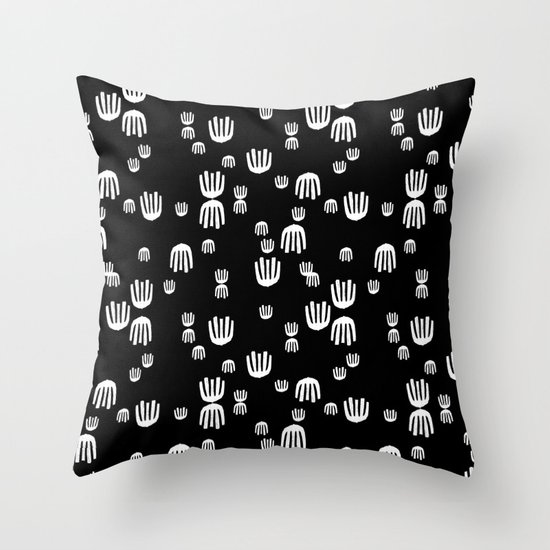 Scandinavian Design Throw Pillows : Linocut black and white minimal hand pattern minimalist decor scandinavian design Throw Pillow ...