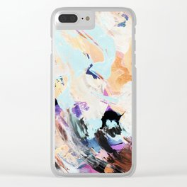 Bright multi-colored painting, contemporary art.  acrylic paint, abstract texture hand drawn gradien Clear iPhone Case