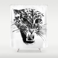 snow leopard Shower Curtains featuring Snow Leopard by pbnevins