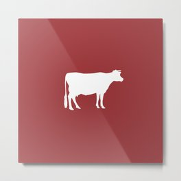 Cow: Barn Red Metal Print