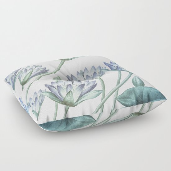 Water Lily Blue Floor Pillow