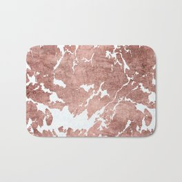 Stylish white rose gold modern marble Bath Mat
