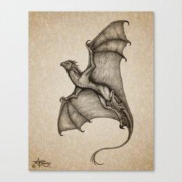 """Hurricane Wyvern"" by Amber Marine, Ink & Graphite Dragon Art, (Copyright 2016) Canvas Print"