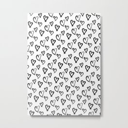 Hearts, Print, Minimal, Scandinavian, Abstract, Pattern, Modern art Metal Print