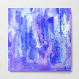 blue water color brush strokes abstract messy watercolor Metal Print