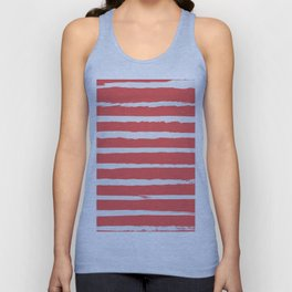 Irregular Hand Painted Stripes Coral Red Unisex Tank Top