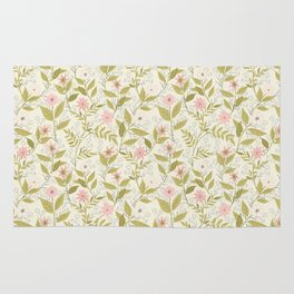 Blush and Cream Floral Climbing Pattern Rug