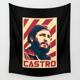 Fidel Castro Retro Propaganda Wall Tapestry