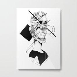 Skull and Woman 02 Metal Print