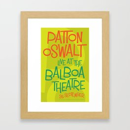 Patton Oswalt Balboa Theatre San Diego Show Poster Framed Art Print