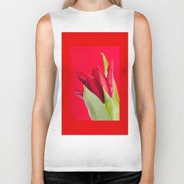 Single red tulip flowerhead detail Biker Tank
