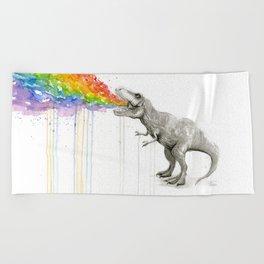 T-Rex Dinosaur Rainbow Puke Taste the Rainbow Watercolor Beach Towel