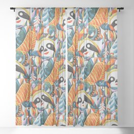 Nordic Sloth Watercolor Sheer Curtain