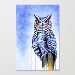 Blue Great Horned Owl Canvas Print
