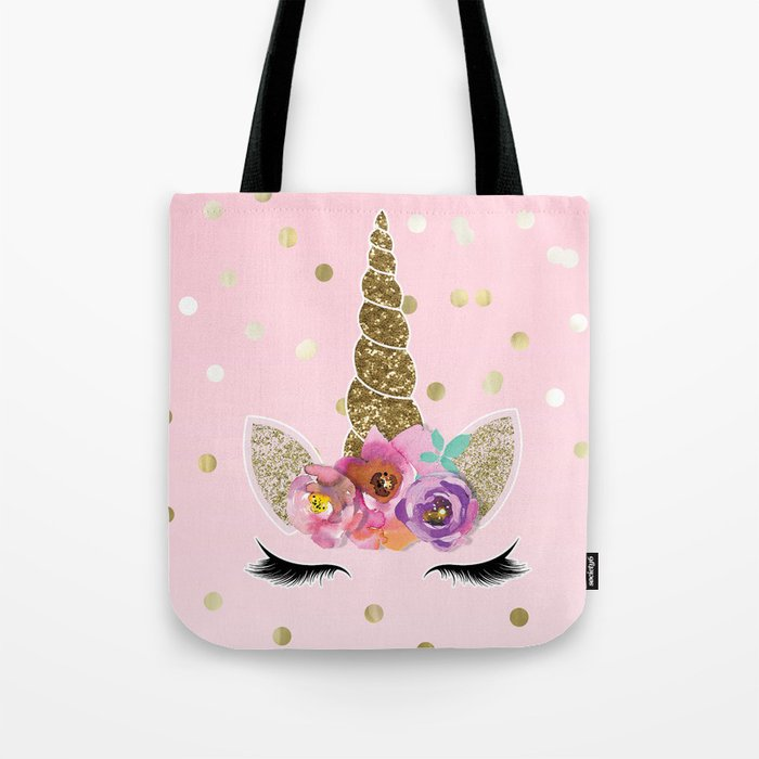 Floral Trendy Modern Unicorn Horn Gold Confetti Tote Bag by christyne  e8331097b0bbc