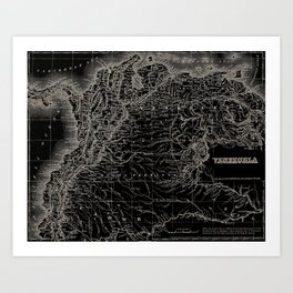 Venezuela Antique Map Art Print