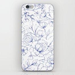 Modern hand drawn navy blue white elegant floral pattern iPhone Skin