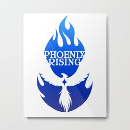 PHOENIX RISING blue with flames and star center Metal Print