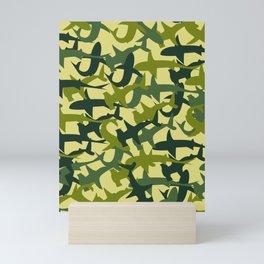 Green Camouflage Sharks Mini Art Print