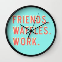 parks and recreation Wall Clocks featuring PARKS AND REC FRIENDS WAFFLES WORK by comesatyoufast