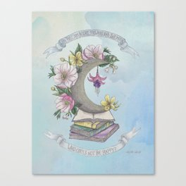 Freedom, Books, Flowers and The Moon Canvas Print