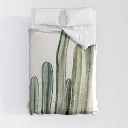 Tall Cacti Watercolor Painting Comforters