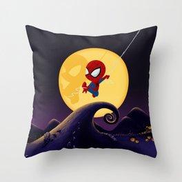 spidey night Throw Pillow