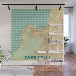 Cape Town Map Retro Wall Mural