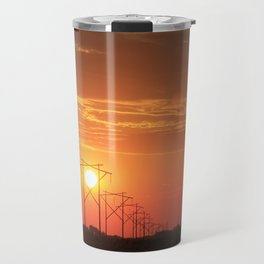 Kansas Country Power Line Sunset Travel Mug