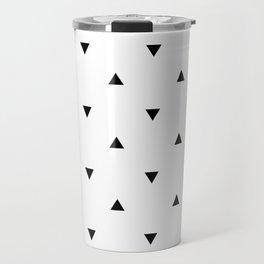 Black and white Triangles geometric pattern Travel Mug