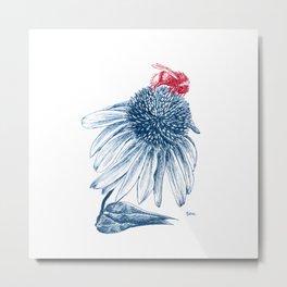 Bumblebee on Echinacea Metal Print