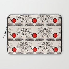 Sumi-e Mount Fuji with a red rising sun Pattern Laptop Sleeve