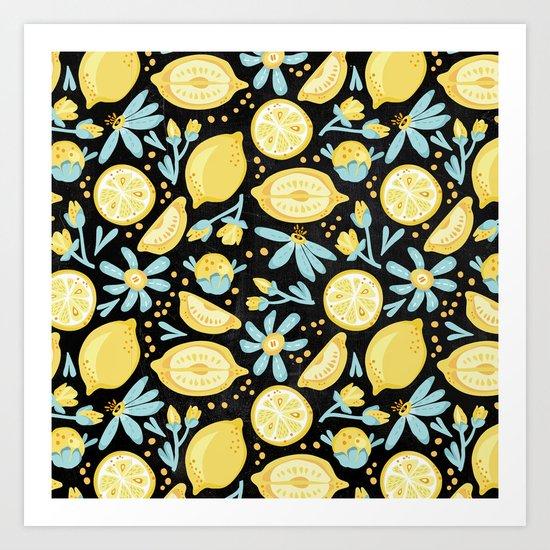 Lemon Pattern Black Art Print
