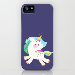 Cute unicorn with colorful mane and tail iPhone Case