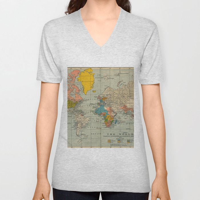 Vintage world map Unisex V-Ausschnitt