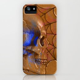 Electric Blue Traditional Skull  iPhone Case