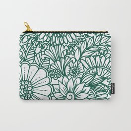 Hand drawn forest green white modern floral Carry-All Pouch