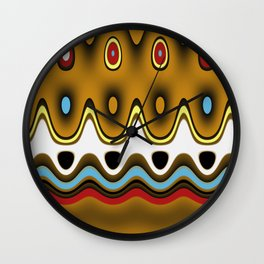 Fun Pattern Waves, Squiggles, and Oval Shapes Wall Clock