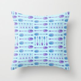 Unique Artsy Spoons! (Light Blue) Throw Pillow