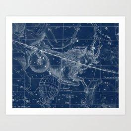 Capricorn sky star map Art Print
