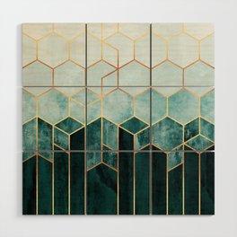 Teal Hexagons Wood Wall Art