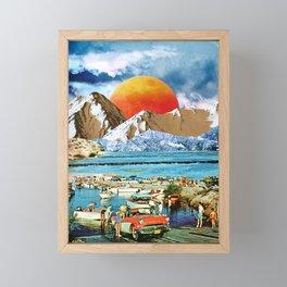 Orange moonset beach Framed Mini Art Print