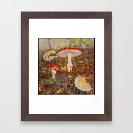 Forest scene with mushrooms in Fall Framed Art Print