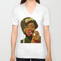 army V-neck T-shirts featuring Army Fatigue by Original Bliss