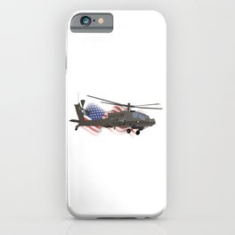 AH-64 Apache Helicopter with American Flag iPhone Case
