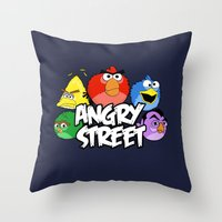 sesame street Throw Pillows featuring Angry Street: Angry Birds and Sesame Street Mashup by Olechka