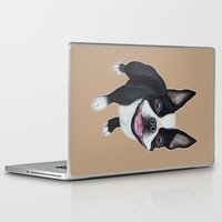 terrier Laptop & iPad Skins featuring Boston Terrier by PaperTigress