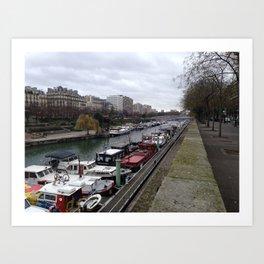 Architecture boats Paris Art Print