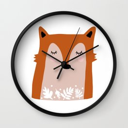 Fox with Flowers Wall Clock